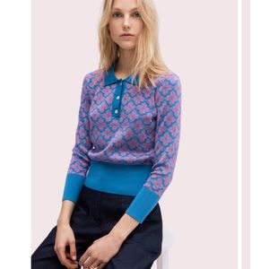 Kate Spade Flower Polo Sweater Metallic Sz S